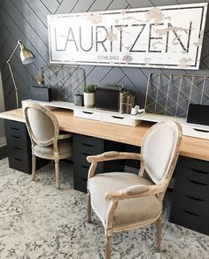 21 Ikea Desk Hacks For a Stylish Home Office – Hacksaholic - Zimmereinrichtung Mesa Home Office, Home Office Space, Home Office Desks, Office Decor, Double Desk Office, Office With Two Desks, Kids Office, Modern Office Desk, Attic Office