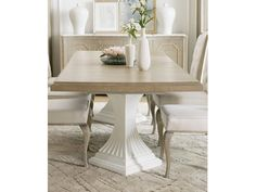 Shop for Hooker Furniture Modern Romance Double Pedestal Dining Table Top, and other Dining Room Tables furniture. Large Square Dining Table, Dining Table With Leaf, Double Pedestal Dining Table, Dining Room Table, Dining Rooms, Goods Home Furnishings, Slipcovers For Chairs, Dining Room Furniture, Side Chairs