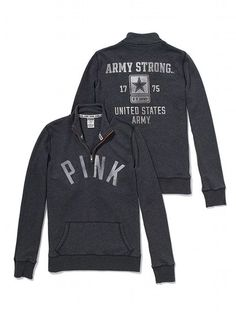 PINK Army Half-Zip Pullover #VictoriasSecret - They finally have some PINK Army Clothes back...but of course its not available in my size!