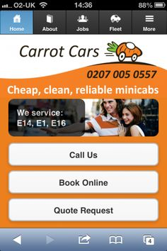 Carrot Cars now has an app style smartphone website that can be accessed straight from your smartphone homepage. Now it is even easier to get hold of your favourite Canary Wharf minicab service. Carrot Cars, Books Online, Carrots, Smartphone, Action, Carrot, Group Action