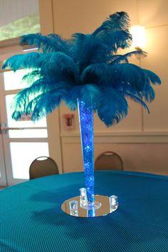 Pieza central de la pluma de la palmera en Jarrón con Gemas y luces LED