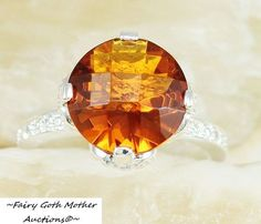 RARE Checkerboard Cut 10 CARAT Honey Topaz Ring Sz 8 is going up for auction at  10pm Sun, May 26 with a starting bid of $1.