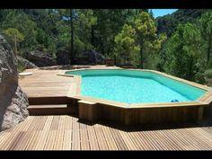 Piscine hors sol en bois semi enterr e avec sa terrasse et - Piscine bois composite semi enterree ...