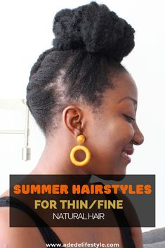 Summer HairStyles for thin fine natural hair. Summer HairStyles for thin fine natural hair. Protective Styles For Natural Hair Short, Fine Natural Hair, Natural Hair Care Tips, How To Grow Natural Hair, Natural Hair Styles, Fine Hair, Natural Hair Haircuts, Natural Hair Blowout, Short Hairstyles Fine