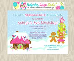 Gingerbread House Decorating Party Birthday by jcbabycakes on Etsy, $11.00
