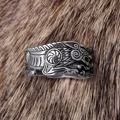Sterling Silver ring Odin's Wolf . Fenrir Ring. Wolf ring. Sterling silver Wolf. Viking Wolf Jewel. Pagan Jewellery