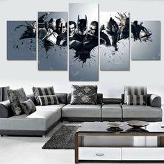 5 Piece Multi Panel Modern Home Decor Framed Batman and Joker DC Comic Wall Canvas Art