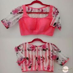 Sheer back floral print blouse Saree Blouse Neck Designs, Fancy Blouse Designs, Stylish Blouse Design, Designer Blouse Patterns, Blouse Models, Indie, Bollywood, Making Ideas, Blouse Desings