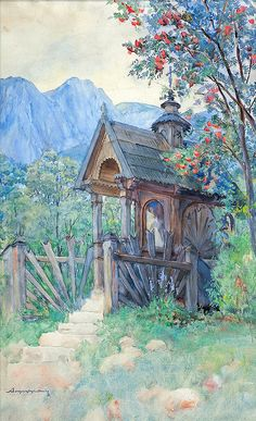 Tatra Wayside Shrine, after 1907 by Aleksander Augustynowicz - Painting Antique Furniture, Antique Paint, Images Of Faith, Old Monk, Church Architecture, Chapelle, Outdoor Landscaping, Roman Catholic, Fantasy World