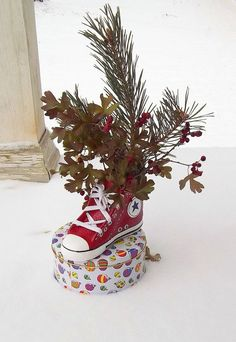 converse sneaker ceramic planter- customizable for 5 dollars more --your name, CF4L, anything you want