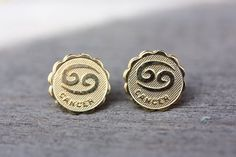 Gold Astrology Studs  Cancer by diamentdesigns on Etsy