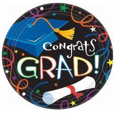 "Amscan Cool Graduation Streamers & Confetti Round Dinner Plates - 9"" (50 Plates) #AmscanGrasslandsRoad"