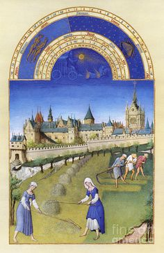 BOOK OF HOURS: JUNE. Mowing, raking, and stacking hay on the outskirts of Paris in June. Illumination from the 15th century manuscript of the 'Tres Riches Heures' of Jean, Duke of Berry.  Artist: Granger, Medium: Photograph - Digital Image