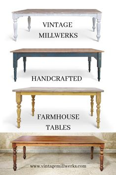 Farmhouse Tables, Customize to your hearts desire Farmhouse Style Furniture, Farmhouse Table, French Farmhouse, Farmhouse Ideas, Farmhouse Decor, Solid Wood Furniture, New Furniture, Vintage Furniture, Furniture Repair