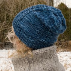 Knit The Making Headway Hat Free Knitting Pattern.The Making Headway Hat is a lovely hat pattern that knits up easily and beautifully. The strong architectural lines make it a great knit for both women and men an# Free Slouch Hat Knit Pattern, Knit Headband Pattern, Slouchy Hat, Lace Knitting, Knitting Patterns Free, Knitted Hats, Crochet Hats, Crochet Poncho, Hand Dyed Yarn