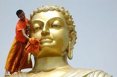 A monk in India gives this Buddha statue a spring cleaning ahead of the Buddha's 2,553rd birthday celebrations to be held on May 9. The bathing of Buddha statues is meant to symbolize both fresh starts in life and the care given to newborn babies. Many other countries already celebrated the birthday on May 2.