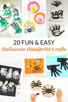 My kids love doing crafts for every season, and what's better than handprint crafts to help remember each holiday? These fun and easy Halloween handprint crafts will be a great keepsake of how small your children's hands once were! Fall Crafts For Toddlers, Crafts For Kids To Make, Easy Crafts, Easy Halloween, Halloween Crafts, Halloween Decorations, Christmas Crafts, Toddler Preschool, Toddler Crafts