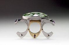 Claudio Pino Ring: Trilogy Platinum Pt950/ Ru, 14k gold, prasiolite, amethysts Collection Nymphes de la Mer