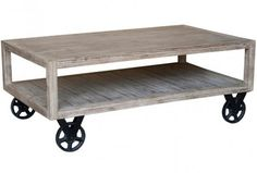 """$368 - The Zelzah Collection features solid acacia wood and casters which allow you to hop on and go for a ride! The casters also make it easier to clean but what fun is that? - Solid Acacia Wood Construction - Natural Wood Grain 47""""l x 27.5""""d x 18""""h"""