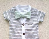 SO CUTE!! Cardigan and Bow Tie Onesie Set - Grey with Mint Green Seersucker - Trendy Baby Boy - Perfect for Spring Shower
