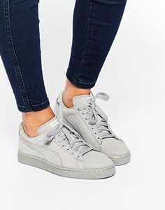 Buy Puma Suede Classic Lo Matt Shine Grey Trainers at ASOS. Get the latest trends with ASOS now. Puma Sneakers, Shoes Sneakers, Pijamas Women, Grey Trainers, Look 2017, Puma Basket, Converse, Baskets, Nike Shoes Outlet