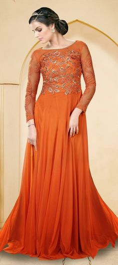 433406 Orange  color family gown in Net fabric with Floral, Resham, Thread, Zardozi work .