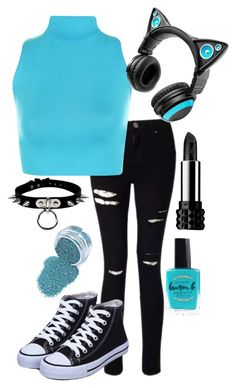 """Black and Teal"" by adventuretimekitty ❤ liked on Polyvore featuring Miss Selfridge, WearAll, Brookstone, Kat Von D, Lauren B. Beauty, black and teal"