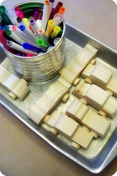 color own wooden car activity and party favor....want to remember for Carter's second birthday!