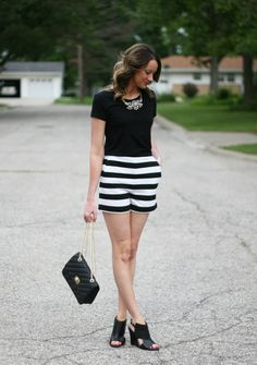 black and white striped shorts - www.lovelucygirl.com