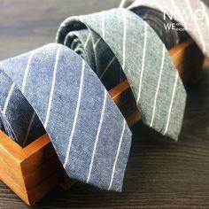 Cotton Linen Slim Ties for Men 5 cm 2017 New Fashion Designer Skinny Necktie Striped Coffee Black Blue Man's Gravata Narrow Tie