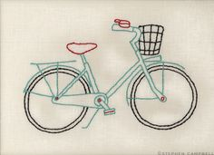 Stephen Campbell embroidery illustration of bicycle Hand Embroidery Designs, Embroidery Applique, Cross Stitch Embroidery, Embroidery Patterns, Sewing Art, Sewing Crafts, Bike Art, Hand Quilting, Couture