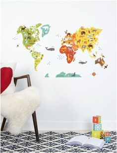 Petit Collage Wall Decal World Map * You can get additional details at the image link.