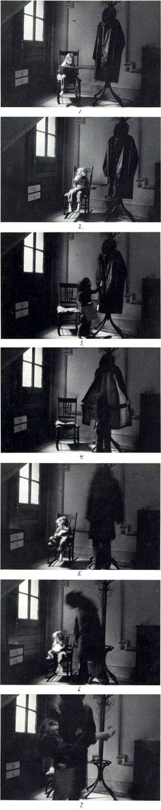 The great Duane Michals - Boogie Man Sequential. I like this photo because its a scary yet exciting story. the little girl is being sucked into the demon