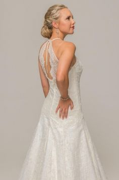 Illusion low back, ivory lace dress, french chantilly ace, beaded fabric, scalloped Unique Wedding Gowns, Couture Wedding Gowns, Wedding Dress Styles, Unique Weddings, Our Wedding, Fabric Beads, Lace Dress, Bridal, Studio