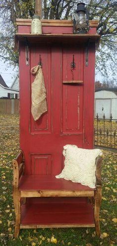 put basket under seat Paint Furniture, Furniture Projects, Repurposed Furniture, Rustic Furniture, Door Hall Trees, Door Bench, Old Wood Doors, Painted Doors, Windows And Doors