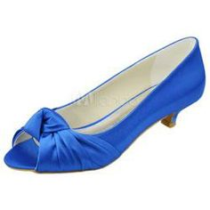 $75 Beautiful Blue Satin Kitten Heel Wedding Shoes