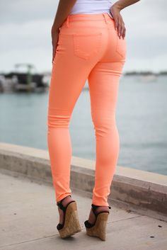 Every girl needs a the perfect neon pants and we got the cutest one here for you! ! These Neon Peach Skinny Jeans are awesome for mixing and matching any of our casual tops or dressy blouses. LOVE THE