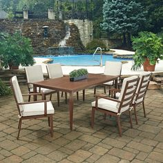 Home Styles Key West Chocolate Brown 7-Piece Extruded Aluminum Outdoor Dining Set with Beige Cushions