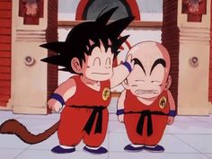 Goku zoando Kuririn em Dragonball
