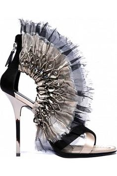 Diego Dolcini High Fashion Fanned Zip-Back Sandal crystal embellishments with fan-pleated chiffon $2,250 #shoes #heels