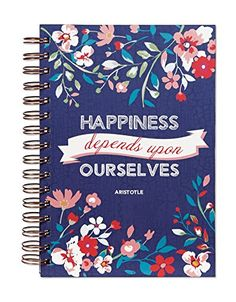 """C.R. Gibson Spiral Bound Journal, 160 Lightly Ruled Pages, Coordinating Interior, Measures 6"""" x 8.5"""" - Happy Flowers"""