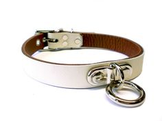 Ivory White Leather BDSM slave Collar - Small Plated Bondage Ring