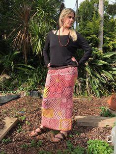 Crochet Festival Granny Skirt - woman's crochet pencil skirt - boho hippy skirt, granny square crochet maxi skirt