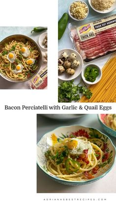 AD - Inspired by classic carbonara pasta, we created a bacon perciatelli with garlic and quail Eggs. A delightful pasta dish ready in less than 30 minutes. Find Hatfield Thick Cut Hardwood Smoked Bacon at Publix! #HatfieldBaconAtPublix #BringHomeHatfieldBacon #BetterWithBacon #Brand_Partner Pasta Dishes, Food Dishes, Food Food, Recipes With Few Ingredients, Shellfish Recipes, Quail Eggs, Cooking Bacon, Smoked Bacon, Homemade Pasta
