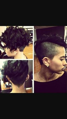 Shaved sides,  pixie, curly faux hawk