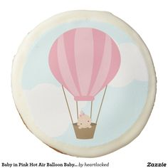 Baby in Pink Hot Air Balloon Baby Shower Sugar Cookie