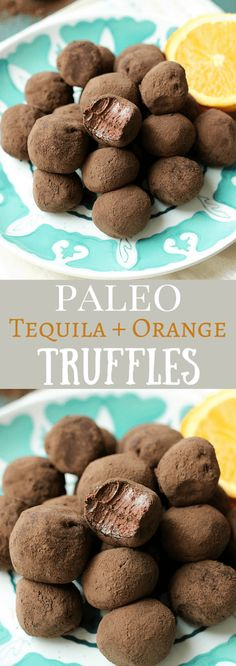 Tequila + Orange Truffles - These decadent boozy truffles are perfect for Cinco de Mayo or any day of the year! {Paleo & No Added Sugar}