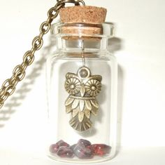 Owl Necklace Owl with Garnet Gemstones Owl in a by flonightingales, £14.00