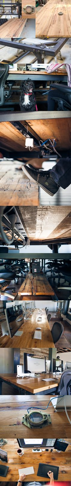 Awesome custom, reclaimed wood office desk for designers. Great Mac setup.
