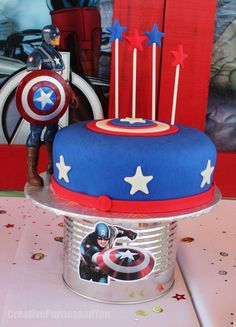 Captain America cake at an Avengers birthday party! See more party planning ideas at CatchMyParty.com!